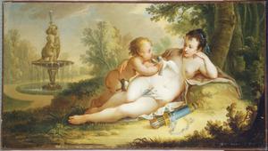 De godin Venus en haar zoon Cupido  rustend in een landschap