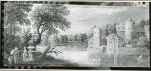 Rivierlandschap met een kasteel