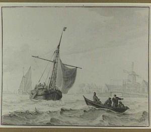 Kustgezicht met vissersboten