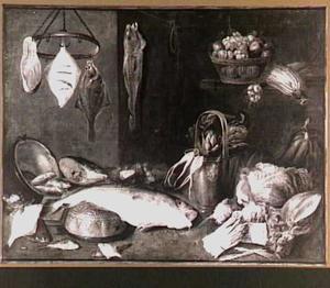 Stilleven met vis en groente