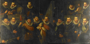 Groepsportret van de schutterij van de Kolveniersdoelen onder kapitein Jacob Hoynck en luitenant Nanning Cloeck