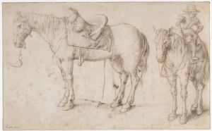 Gezadeld paard en paard met een jongen