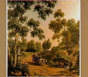 Italianiserend landschap met ossenwagen