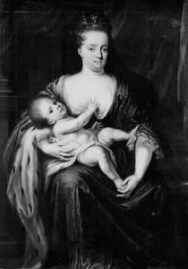 Portret van Henriette Amalia van Anhalt-Dessau (1666-1726) met haar dochter Henriette Casimira van Nassau-Dietz (1696-1738)