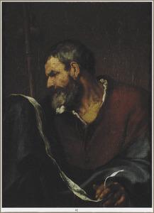Studiekop van een baardige man in profiel, later uitgebreid tot Jacobus de Meerdere met staf en banderol