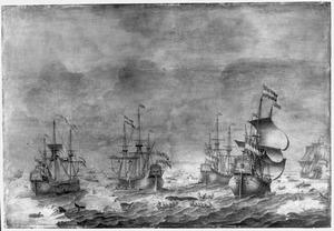 Walvisvloot der Doornekroons (van links naar rechts de 'Vergulde Walvis', de 'Bonte Walvis', de 'Jager', de 'Admiraal Willem Bastiaensz.', de 'Zwarte Walvis')