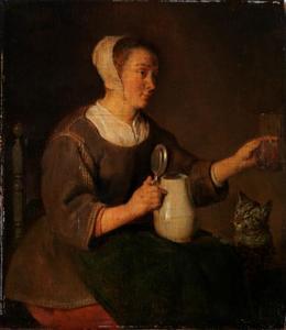 Vrouw met een kruik, een glas en een kat