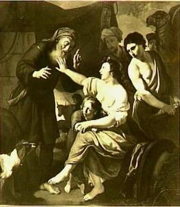 Laban zoekt de terafim waar Rachel op is gezeten (Genesis 31:34-35)