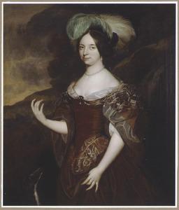 Portret van een vrouw met veren in het haar