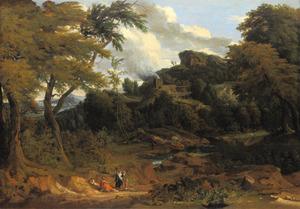 Boslandschap met figuren op een zandweg, op de achtergrond een brandende ruïne