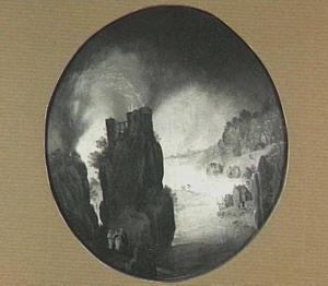 Berglandschap met Lot en zijn dochters, die Sodom  ontvluchten (Genesis 19:30-38)