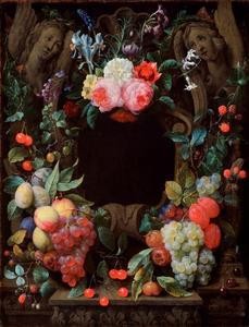 Stilleven van vruchtentrossen en bloemen rond een stenen cartouche