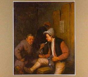 Rokende en drinkende mannen in een herberg