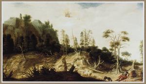 Berglandschap met Venus op haar door zwanen getrokken koets de dode  Adonis ontwarend