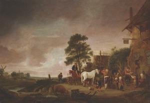 Dorpsgezicht bij een herberg met spelend en pratend gezelschap en het voederen van paarden