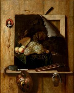 Trompe l'oeil stilleven met een schilderij van vruchten op een richel met een palet en borstels en een zelfportret