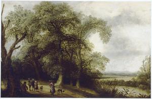 Boslandschap met boeren en reizigers op een weg