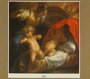 Het kind Hercules vecht met twee slangen en wordt door Pallas Athene beschermd