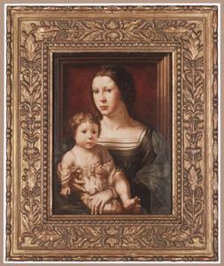 Portrait historié van Anna van Bergen, markiezin van Veere (?-?) met haar zoon, als Maria en kind