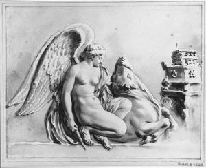Gevleugelde figuur offert een stier bij een altaar