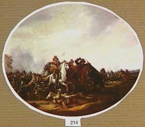 Een schermutseling tussen ruiters en soldaten te voet