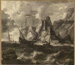 Hollandse pinas en vissersschepen voor een burcht op een rotskust
