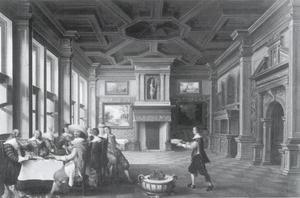 Interieur met een groep aan de eettafel