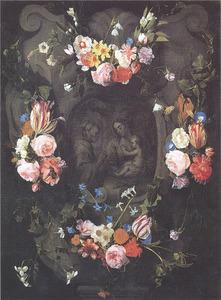 Gebeeldhouwde cartouche versierd met bloemen rondom een voorstelling van Maria, het kind en een monnik (?)