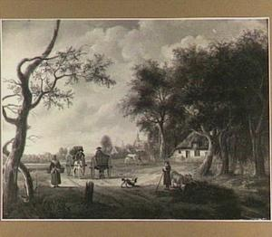 Wandelaars en boeren met paard en wagen op een landweg