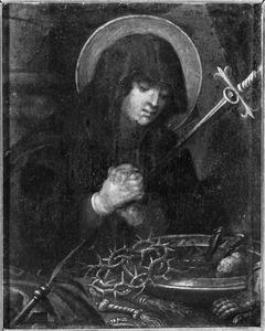 De Mater Dolorosa met de instrumenten van de Passie