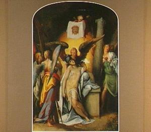 Christus beweend door engelen, omringd door de instrumenten van de Passie