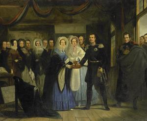 Anna Paulowna Romanov, prinses van Oranje, ontvangt de latere tsaar Alexander II van Rusland in het Tsaar Peterhuisje te Zaandam, 17 april 1839