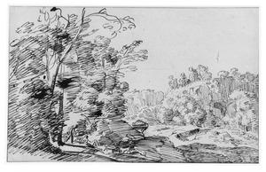 Bergachtig landschap met bomen en figuren