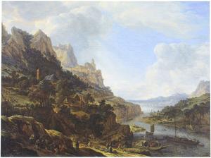 Berglandschap met aanlegplaats in een bocht van een rivier