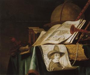 Stilleven met boek, globe en portrettekening