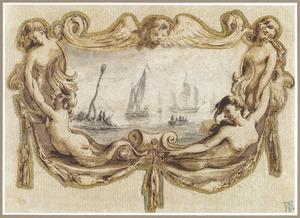 Marine voorstelling in een cartouche met zee meerminnen