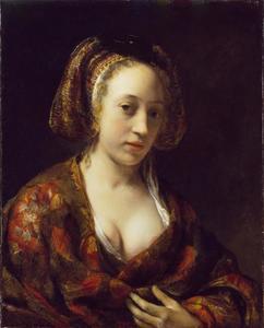 Jonge vrouw in een brokaten kostuum