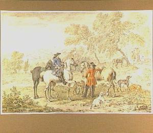 Rustende jagers met honden
