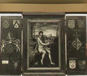 Drieluik met Christus als Salvator Mundi (middenpaneel) en de wapens van Van Roijen-De Scheilder en hun voorouders (luiken)