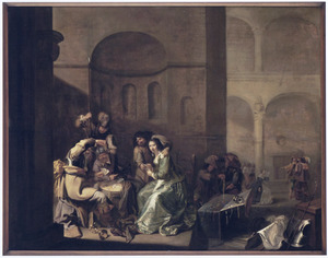 Wachtlokaal met kaartende soldaten en jonge vrouw