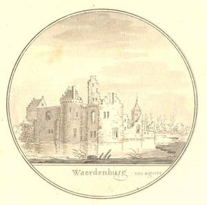 Ruïne van het kasteel Waardenburg aan de Waal, gezien vanuit het noordwesten (?)
