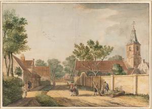 De Pijlsteeg te Rijnsburg met rechts van het midden het Rentmeestershuis van de Ridderschap van Holland, de toren van de Abdijkerk en de ommuring van het Begijnhof