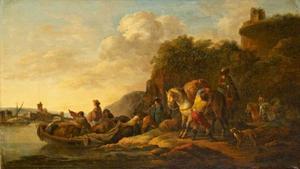 Riviergezicht met veerboot
