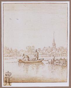 Rivierlandschap met twee mannen in roeibootje