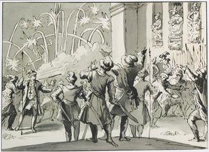 Koning Udislaus van Polen getroffen door vuurwerk dat ter zijner ere in 1636 werd afgestoken
