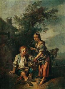 Jonge vrouw en een blinde bedelaar
