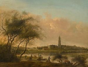 Gezicht op Rhenen, gezien vanaf de oever van de Nederrijn