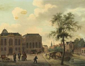 De Hoogduitse Synagoge en de Nieuwe Synagoge aan de Deventer Houtmarkt te Amsterdam; rechts de  brug over de Muidergracht