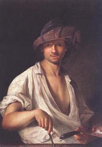 Zelfportret van  Ádám Mányoki (1673-1756)