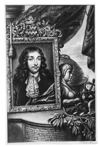 Portret van Govert van Slingelandt (1623-1690), met in de achtergrond de Grote Kerk in Dordrecht